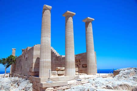 rhodes: Ruins of ancient temple. Lindos. Rhodes island. Greece