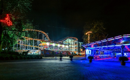 Night cityscape and illumination in an amusement park