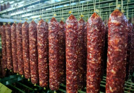 row of sausages at a meat factory. Standard-Bild