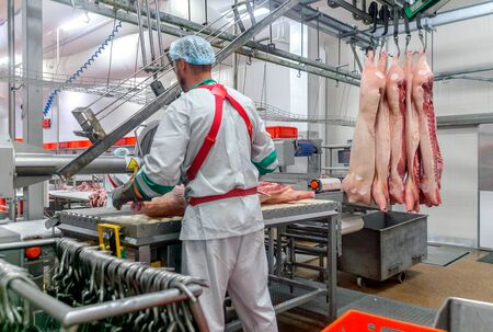 cutting pigs at a meat factory. Standard-Bild - 132047724