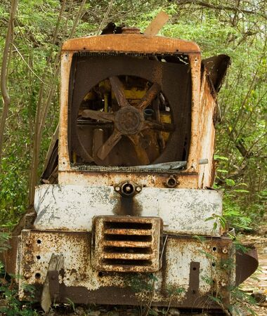 construction machinery: Abandoned decaying construction machinery