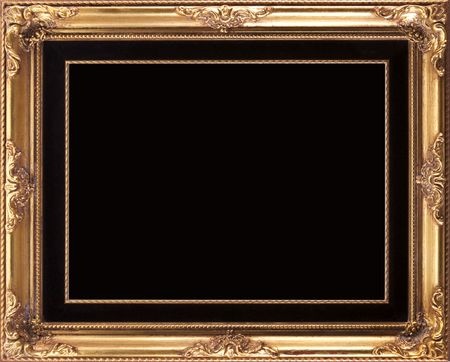 Classic Gold Picture Frame With Black Background photo