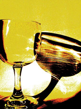 Retro Look Wine Glass and Reflection
