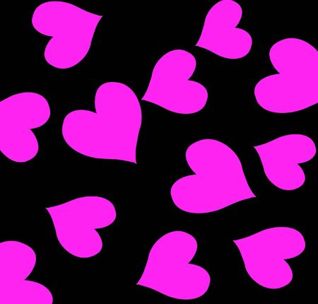 Bright Pink Hearts On Black Background Stock Photo