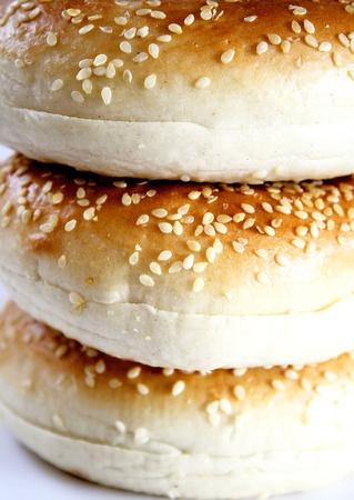 sesame: Sesame seed bagels Stock Photo