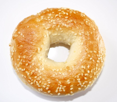 Fresh baked bagel with sesame seeds