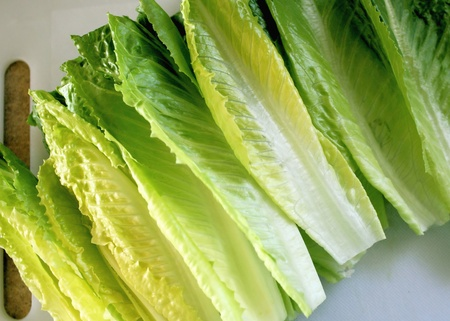 romaine: Organic Romaine Lettuce Leaves On Cutting Board