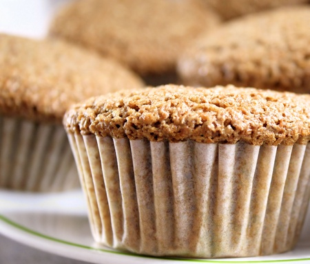 muffin: Bran Muffins On Serving Plate