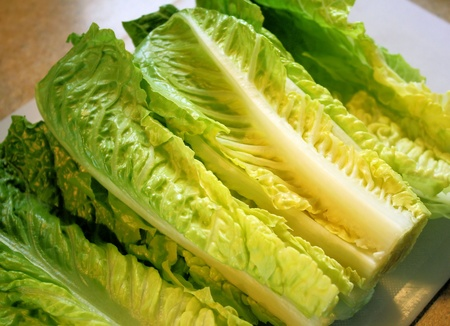 Organic Romaine Lettuce Leaves On Cutting Board Stock Photo - 9465648