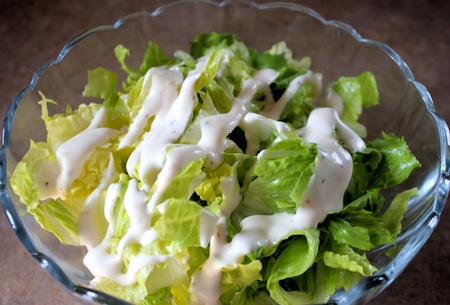side salad: Garden Salad With Creamy Dressing