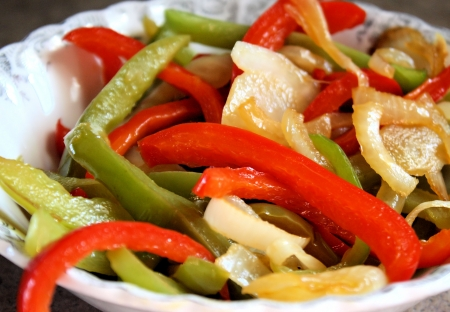 Sauteed Vegetables, peppers and onions Stock Photo