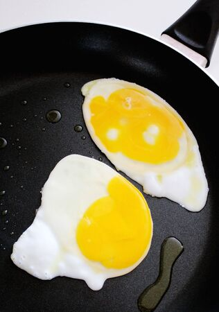 non stick: Frying Eggs In Non Stick Skillet - a bit of oil also in pan