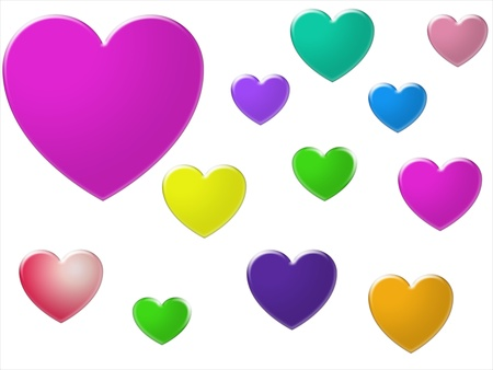 blue green background: Bright coloured hearts in different sizes isolated on white background