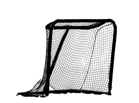 Hockey Net - white background, an abstract