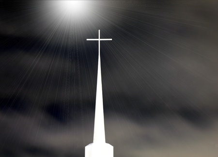 Church Steeple With Shining Light From Above - black and white Stock Photo - 12661690