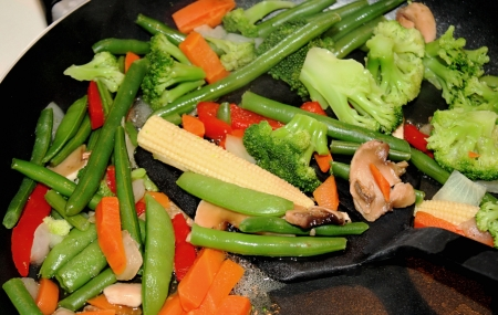 Assorted Vegetables Cooking In Skillet  photo