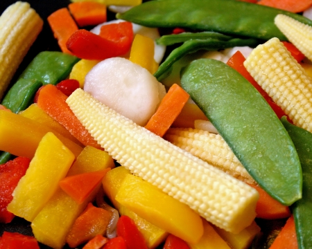 frozen food: Frozen Assorted Vegetables - ready for cooking Stock Photo