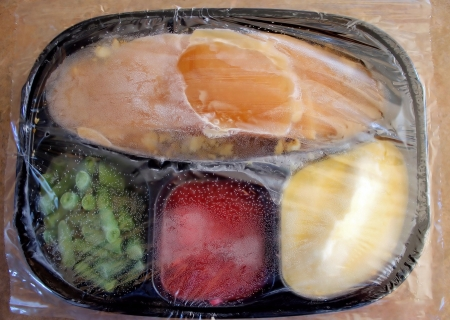 plastic wrap: Frozen Turkey Dinner With Clear Wrap