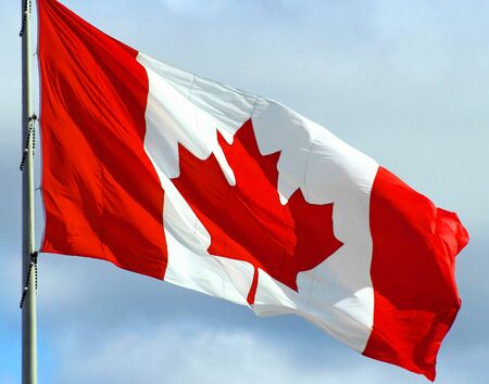 facing right: The Canadian Flag Stock Photo