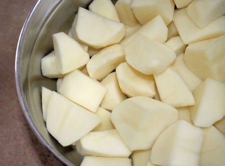 Pot of peeled potatoes in water - ready for cooking