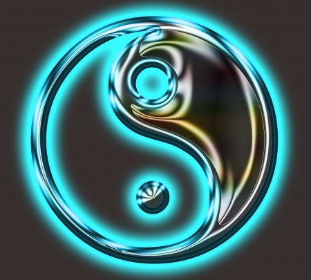 chinese philosophy: Yin Yang Symbol - metallic