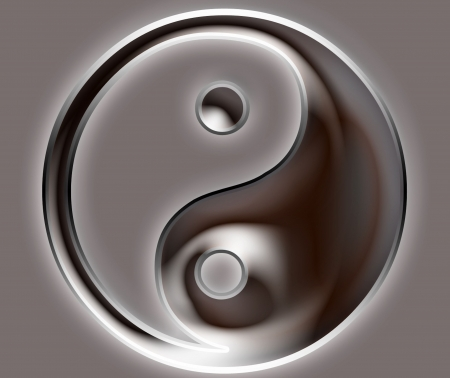 Yin Yang Symbol - metallic photo
