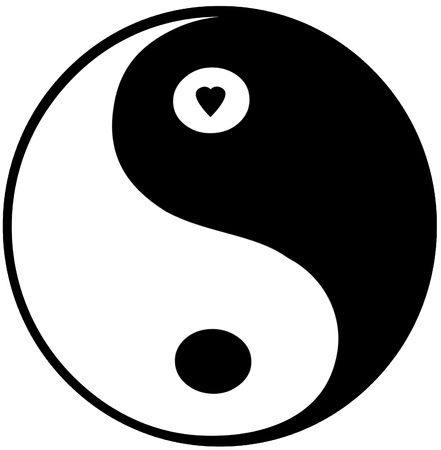 Yin Yang Symbol - small heart in top circle Stock Photo - 20016159
