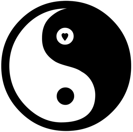 chinese philosophy: Yin Yang Symbol - small heart in top circle