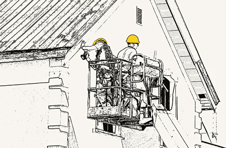 hoist: Abstract illustration of two workmen on hoist repairing a building