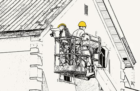 Abstracte illustratie van twee werklieden op takel repareren van een gebouw