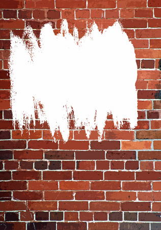 defaced: Vertical Red Brick Wall - an abstract with white spray paint  Stock Photo