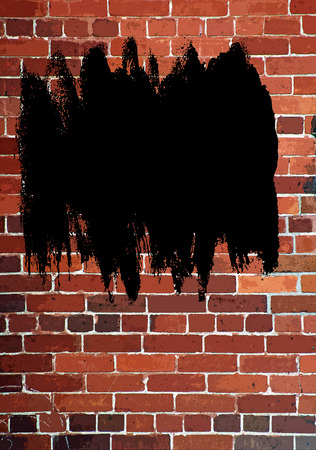 defaced: Vertical Red Brick Wall - an abstract with black spray paint Stock Photo