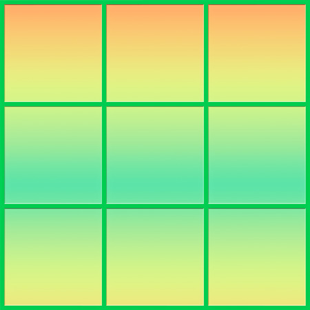 window shades: Window and frame in pastel shades of green and yellow  - abstract Stock Photo