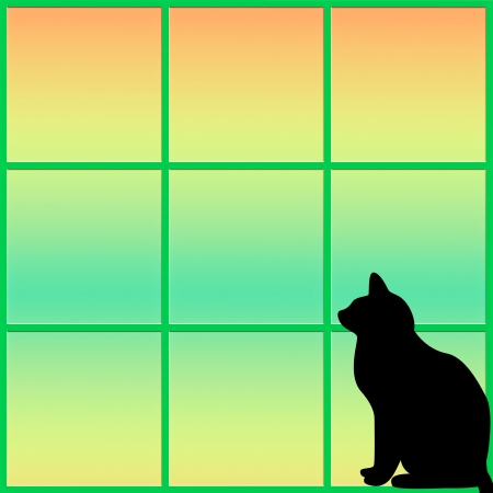 pastel shades: Silhouette of a black cat staring out of a window - abstract
