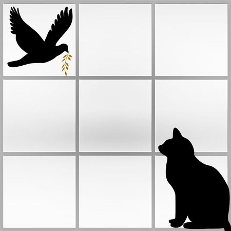 Silhouette of a black cat watching a dove from the window carrying a twig - abstract photo