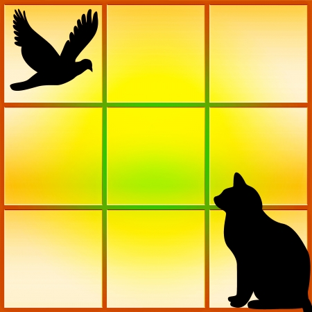 Silhouette of a black cat sitting in the window watching a bird - abstract sunset photo