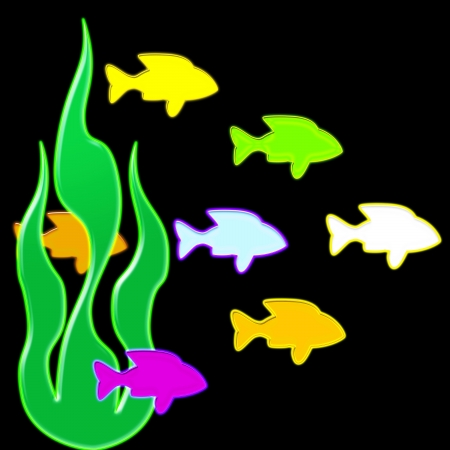 neon fish: A school of vibrant neon fish swimming through the water - abstract Stock Photo