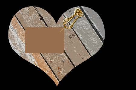 push: Wooden heart with blank note pinned to it with a gold push pin - abstract