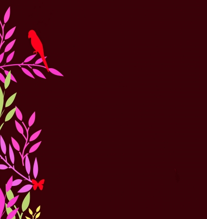 butterfly stationary: A Bird and a Butterfly rest on colorful leaves on this attractive Oriental inspired border