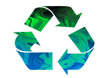 changing colors: Recycle symbol moving from green to blue symbolizing Earth and Water