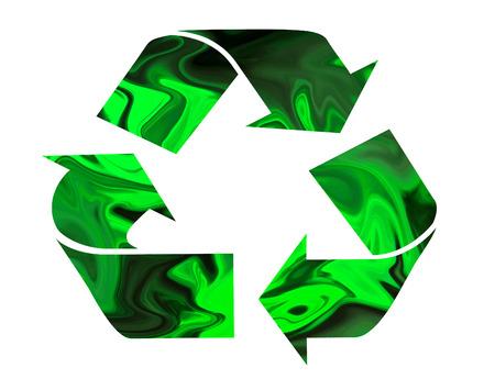 flecha derecha: Símbolo de reciclaje verde aislado en el fondo blanco