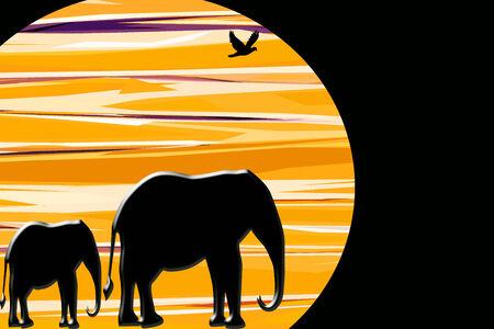 siluetas de elefantes: Resumen de elefantes africanos caminando ante una puesta de sol Foto de archivo