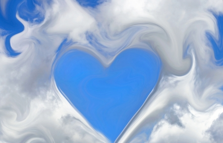 LOVE IS IN THE AIR - Heart cut out in white fluffy clouds in a bright blue sky Stock Photo - 24509264