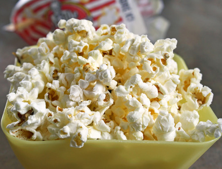 popped: A bowl of freshly popped microwaved popcorn