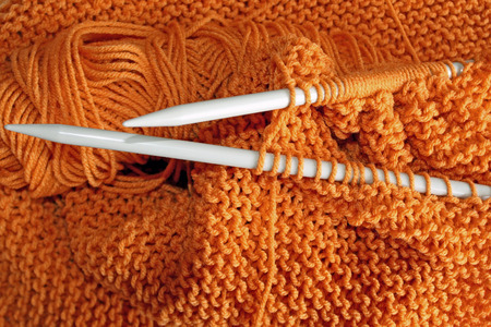 knitting needles: Knitting project on needles in Garter Stitch