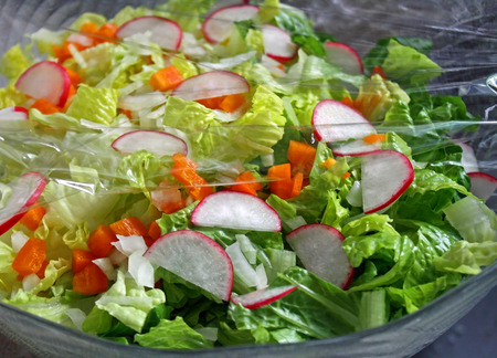 plastic wrap: Colorful Garden Salad covered with plastic wrap to keep fresh