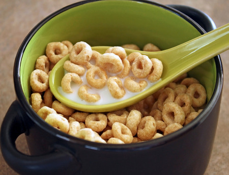 Bowl of breakfast cereal with milk Stock Photo