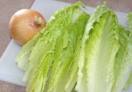 Fresh organic Romaine lettuce leaves and a white onion on chopping board.  Ingredients to prepare a nutritious and healthy salad