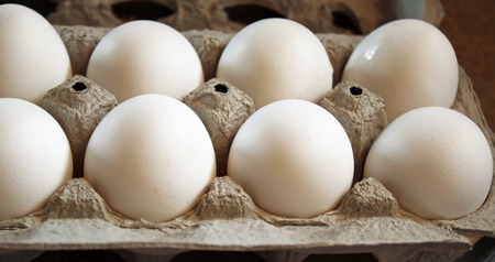 Carton of Wholesome and nutritious Organic white eggs Reklamní fotografie