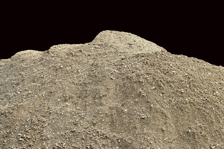 dirt pile: Pile of natural unsifted dirt with small pebbles and stones embedded  isolated on a black background Stock Photo